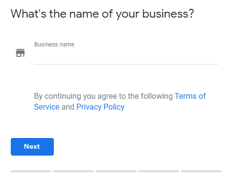 screenshot of a Google My Business form requesting the business name